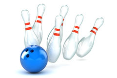 Bowling Strike Illustration. A Colourful 3d Rendered Ten Pin Bowling Illustration Stock Photography