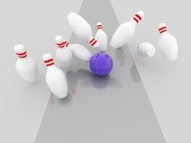 Bowling strike illustration. 3d imagen Stock Images