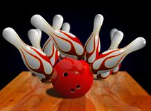 Bowling strike on pin Royalty Free Stock Photos