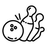 Bowling strike pin icon, outline style royalty free illustration