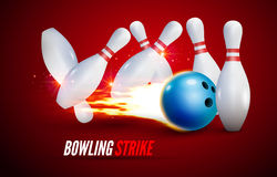 Bowling strike realistic illustration background. Fire bowl game leisure concept. Bowling club poster design Stock Photos