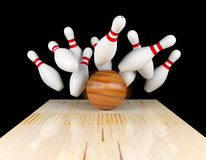 Bowling strike, scattered skittle and bowling ball on bowling lane with motion blur on bowling ball. 3D rendering Royalty Free Stock Photography