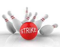 Bowling Strike Shows Ten Pin And Activity 3d Rendering Royalty Free Stock Photography
