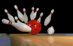 Free Bowling Strike. Skittles And Bowling Ball On The Track Royalty Free Stock Image - 209022956