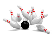 Bowling Strike of Skittles. Strike of White and Red Bowling Skittles with Black Ball on White Background 3D Illustration Stock Photos