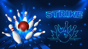 Bowling strike template. Tv size banner. Vector clip art illustration Stock Image