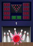 Bowling strike - vector bowling pins and ball. With the main board where you can see the scores of all players Stock Photography
