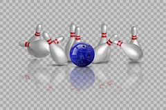 Free Bowling Strike With Mirror Reflection Isolated On Transparent Background. Vector Bowling Design Element. Royalty Free Stock Image - 133426496
