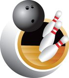 Bowling swoosh. Bowling ball rolling down the alley knocking over pins Royalty Free Stock Images