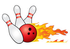 Bowling symbol. Red bowling ball crashing into the pins Royalty Free Stock Image