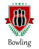 Bowling symbol for sporting deseign. Bowling symbol for sporting design with ninepins, laurel wreath, ribbon, heraldic shield and text Royalty Free Stock Images