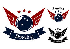 Bowling symbols with wings Royalty Free Stock Images