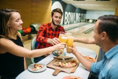 Bowling team celebrate victory in the competition stock photos