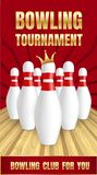 Bowling tournament banner, realistic style vector illustration