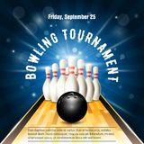 Bowling tournament flyer template with bowling court, skittles. And ball stock illustration
