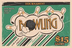 Bowling tournament invitation vintage poster. Bowling strike in retro bowling tournament poster design concept. Vector Stock Image