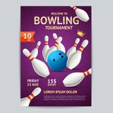 Bowling Tournament Poster Card Template. Vector Royalty Free Stock Photography