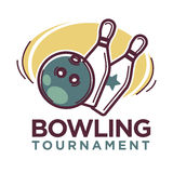 Bowling tournament poster or logo vector template Royalty Free Stock Image