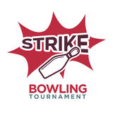 Bowling tournament poster or logo vector template Stock Photography