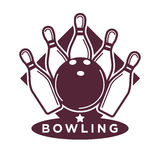 Bowling tournament poster or logo vector template Royalty Free Stock Photos