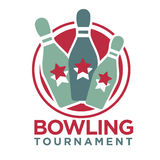 Bowling tournament poster or logo vector template Stock Images