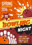 Bowling Tournament Poster Template. Design with Bowling Ball and Pins. Royalty Free Stock Images