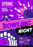 Bowling Tournament Poster Template. Design with Bowling Ball Stock Photos