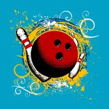 Bowling vector. Abstract grunge style bowling vector Royalty Free Stock Image