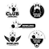 Bowling vector labels, emblems and badges set Stock Image