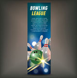 Bowling vertical banner with bowling champ club and leagues symbols realistic. Bowling horizontal banner with bowling champ club and leagues symbols realistic Royalty Free Stock Photography