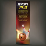 Bowling vertical banner with bowling champ club and leagues symbols realistic isolated. Bowling horizontal banner with bowling champ club and leagues symbols Stock Photos