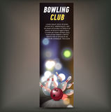 Bowling vertical banner with bowling champ club and leagues symbols realistic isolated. Bowling horizontal banner with bowling champ club and leagues symbols Stock Images