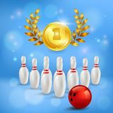 Bowling Victory 3D Composition. Golden medal with laurels pins and ball on blurred blue background vector illustration Royalty Free Stock Image