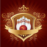 Bowling With Shield Royalty Free Stock Photo
