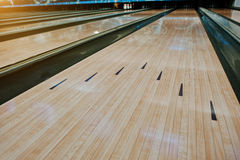 Bowling wooden floor with lane. Stock Image