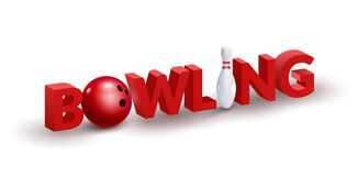Bowling word 3d design template. Bowl and skittle 3d  Stock Images