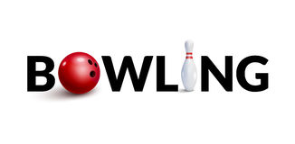 Bowling word 3d design template. Bowl and skittle 3d concept. Of bowling club Stock Photo