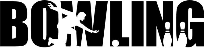 Bowling word with silhouette cutout stock illustration