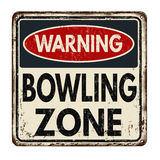 Bowling zone vintage metal sign. Bowling zone vintage rusty metal sign on a white background, vector illustration stock illustration
