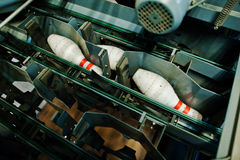 Bowlingben på bowlingmaskinen Royaltyfria Bilder
