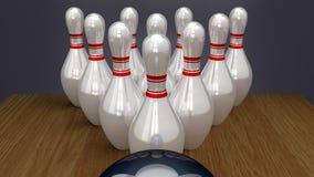Bowlingben på Racked nära slag Royaltyfri Bild