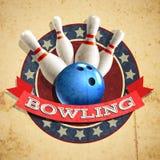 Bowlingemblembakgrund Royaltyfri Fotografi