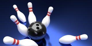 Bowlingklot- och stiftmall Tvformatbaner framförande 3d Royaltyfri Foto