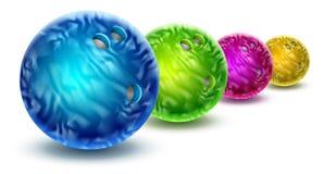 Bowlingklot som isoleras med färgmarmortextur Royaltyfri Fotografi
