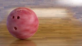 Bowlingkugel Nr. 16 auf einem hinaufkletternden Holzfußboden Lizenzfreie Stockfotografie