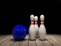 Bowlingkugel- und Stifthintergrund stock abbildung
