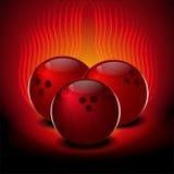 Bowlingkugeln auf einem roten Hintergrund Lizenzfreies Stockbild