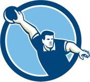 Bowlingspeler die Retro de Cirkel werpen van de Kegelenbal Royalty-vrije Stock Afbeeldingen