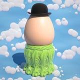 Bowlingspelerhoed op een ei 3d illustratie Royalty-vrije Stock Fotografie