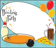 Bowlingspiel-Geburtstagsfeier-Einladung Stockfotos